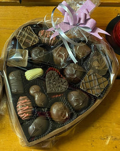 Queen Size Solid Chocolate Heart Box Filled With Case Chocolates