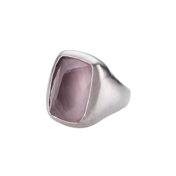 Rectangle Rose Quartz Ring