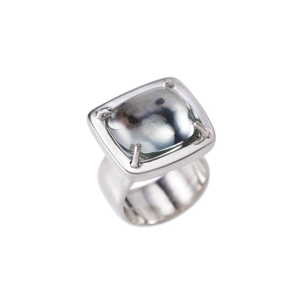 Pillow Cushion Green Amethyst Ring