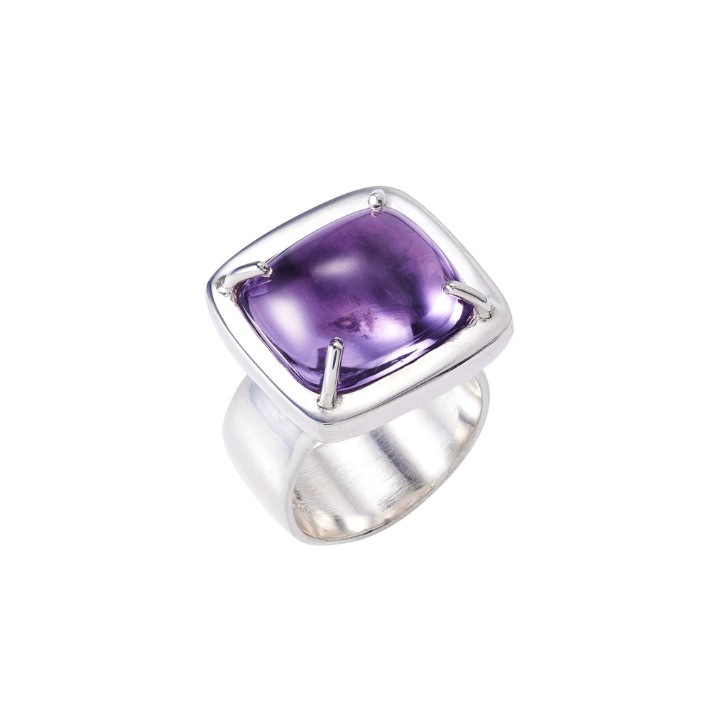 Pillow Cushion Amethyst Ring