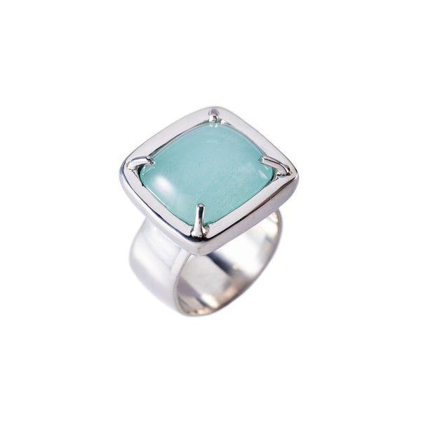 Pillow Cushion Teal Chalcedony Ring