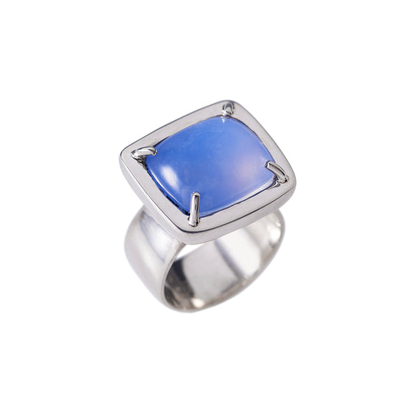 Pillow Cushion Blue Chalcedony Ring