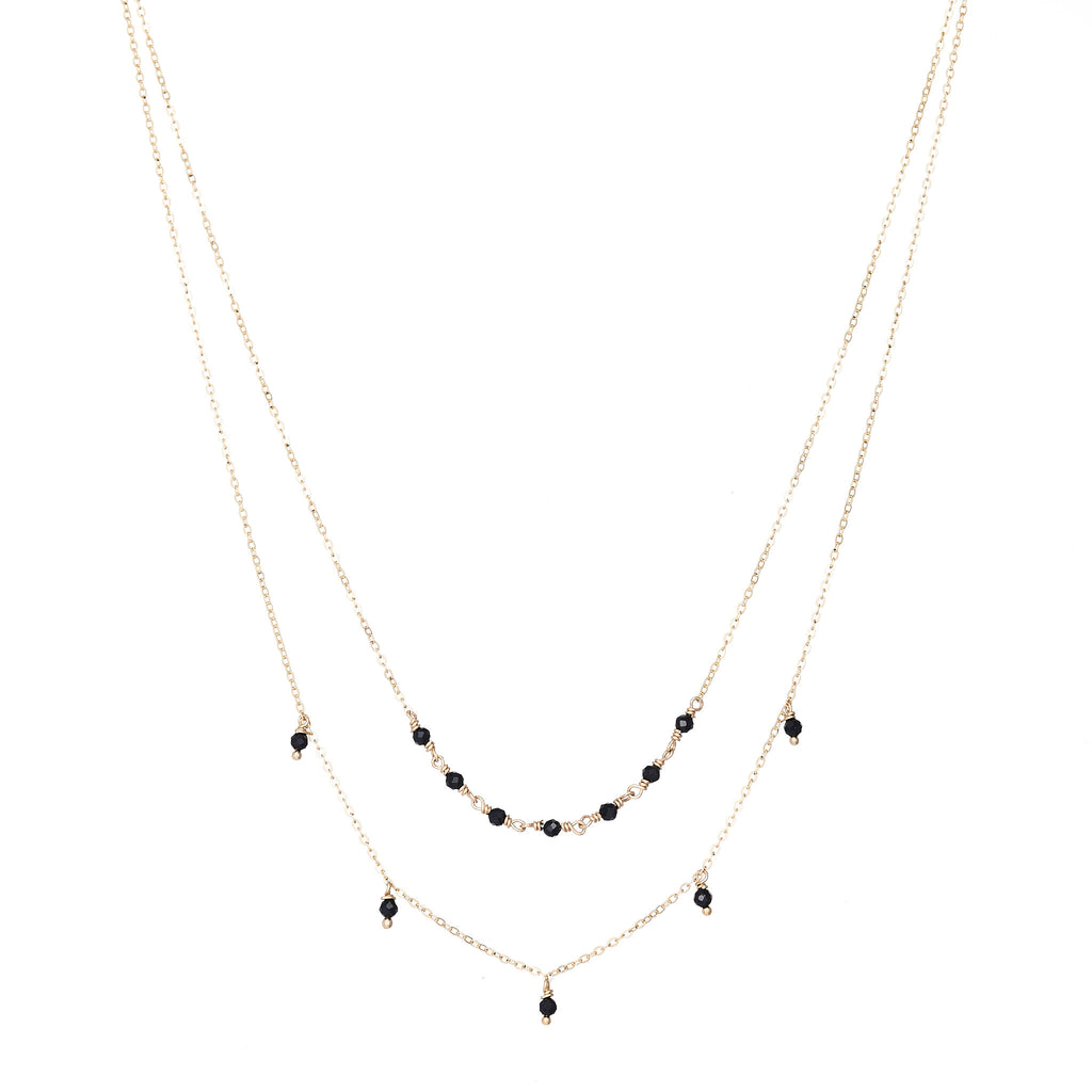 Black Spinel Double Layered Necklace