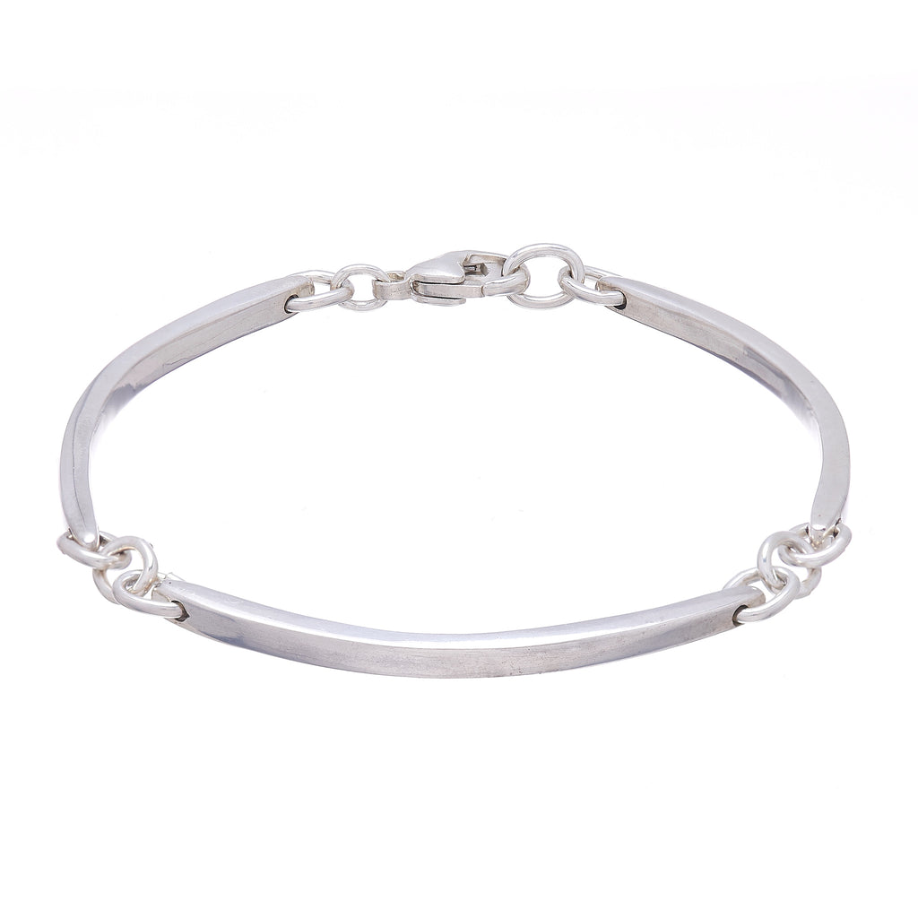 Thin Curved Bar Link Bracelet
