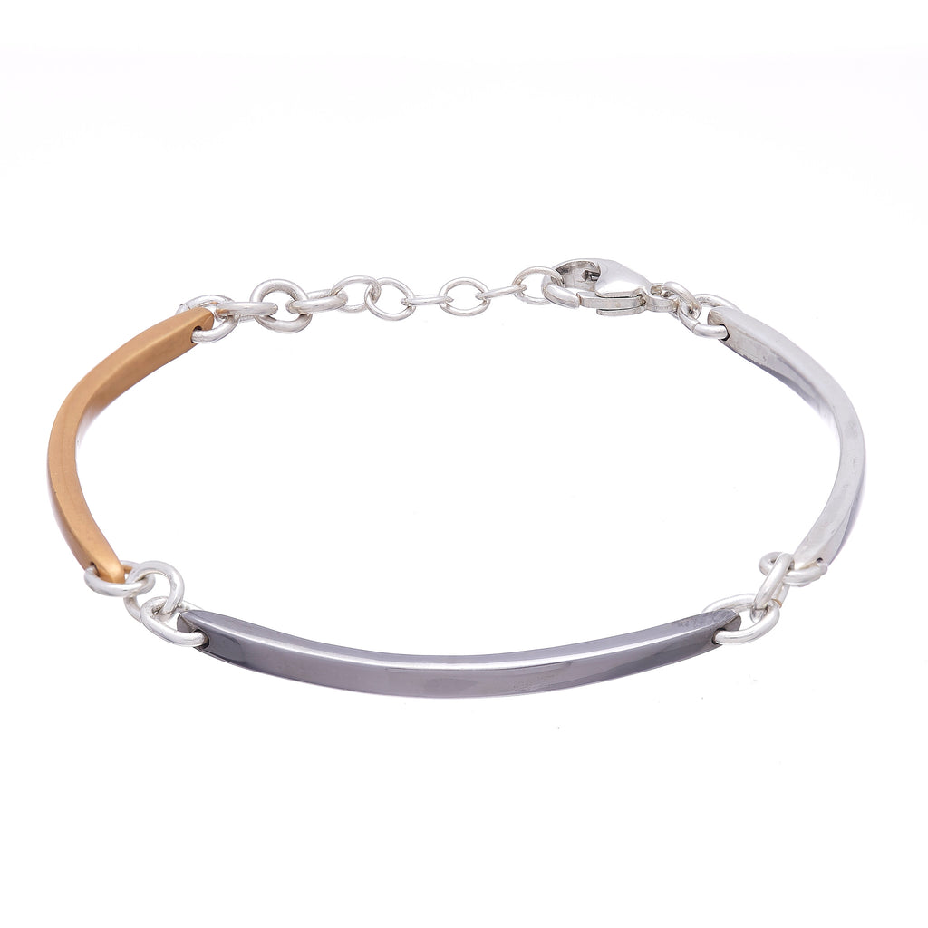 Multi Color Thin Curved Bar Link Bracelet