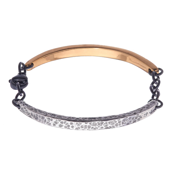 Smooth and Textured Large Curved Bar Bracelet
