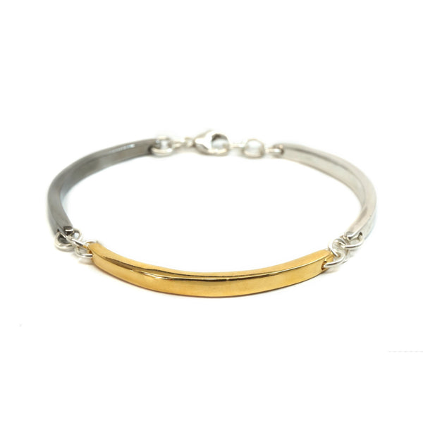 Three Color Medium Curved Bar Bracelet