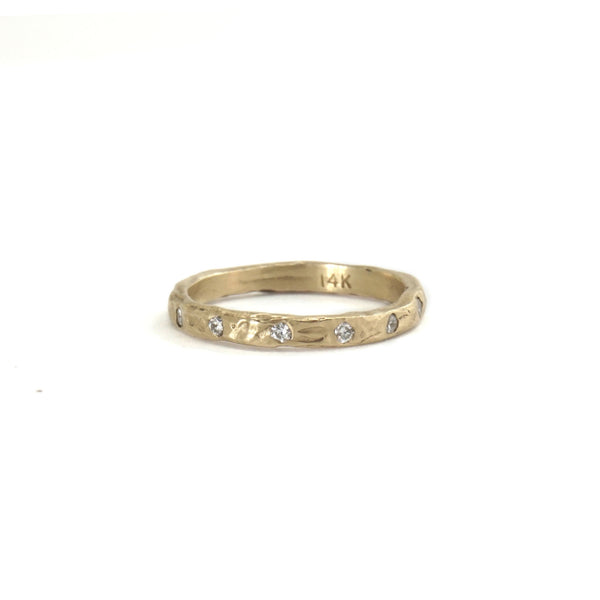 14k Textured Stacking Band with diamonds