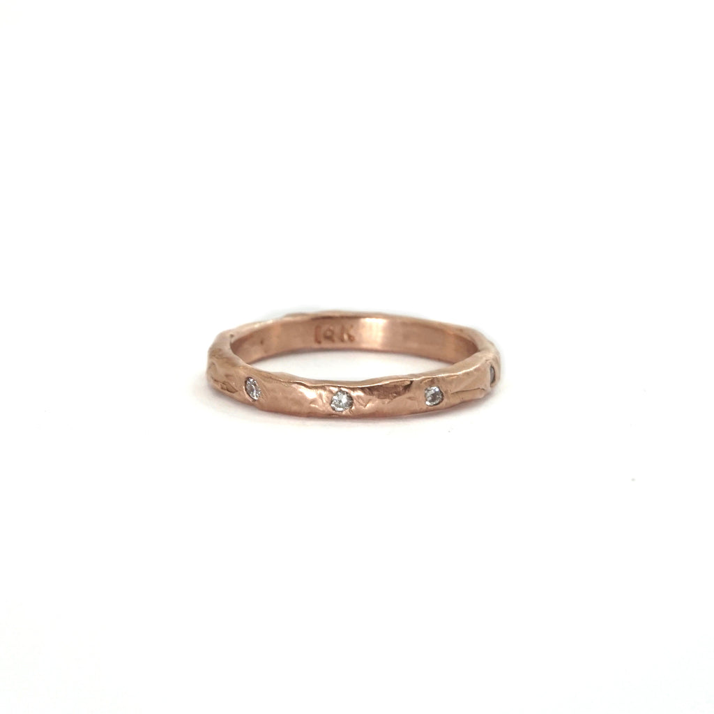 14k Rose Textured Stacking Band With Diamonds