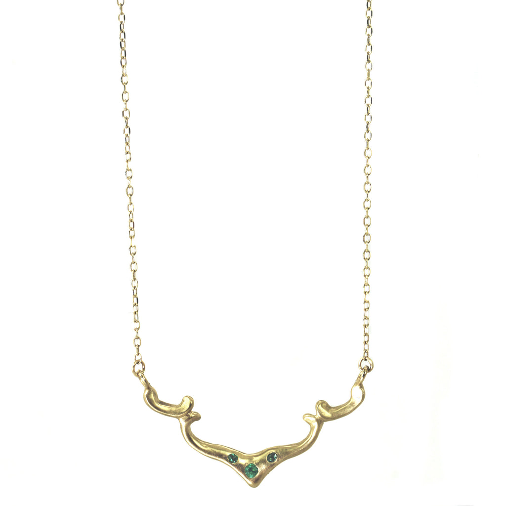 14k Lotus bar necklace