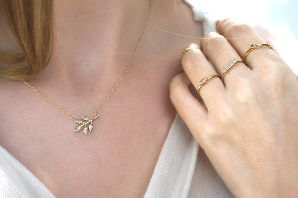 14k Diamond Leaves Necklace