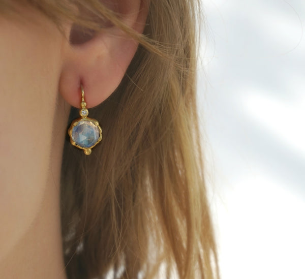 18k Moonstone Earrings