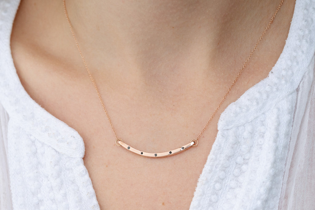 14k Thin Curved Bar Necklace With Black Diamonds
