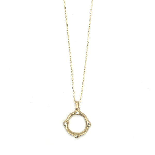 14k satin square necklace