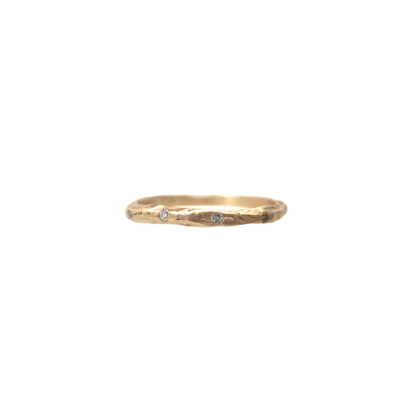 Thin Textured Diamond Band