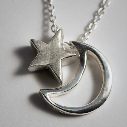 Open Moon & Tiny Star Necklace