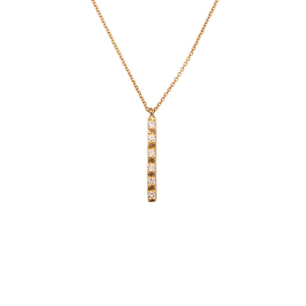 Yellow Gold Vertical Bar Necklace