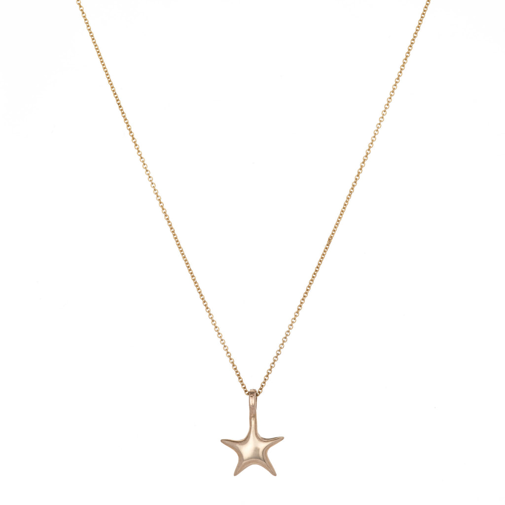 14K Flat Back Star Necklace