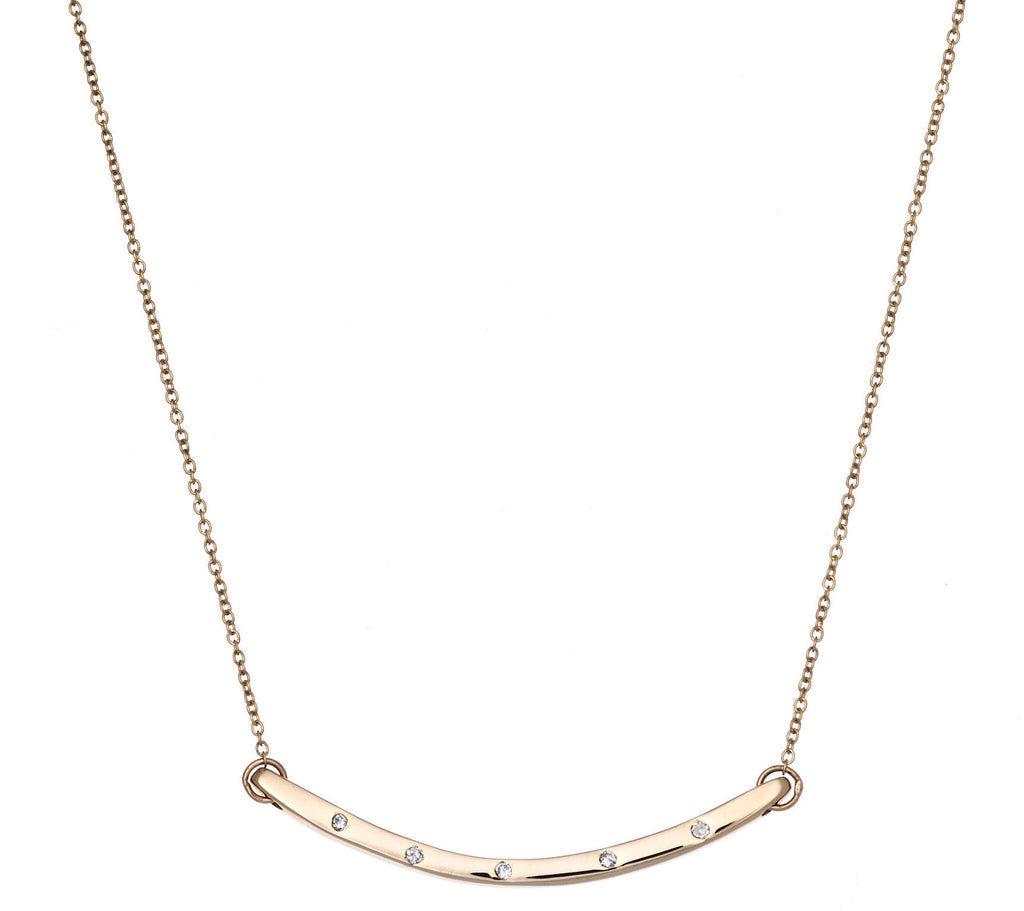 14k Thin Curved Bar Necklace With Diamonds