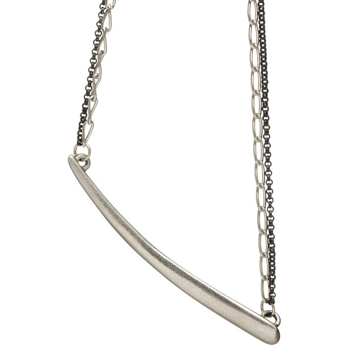 Tapered Curve Necklace on Multiple Chains