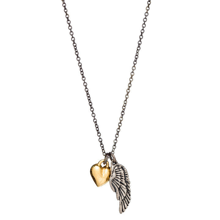 Heart and Wing Charm Necklace