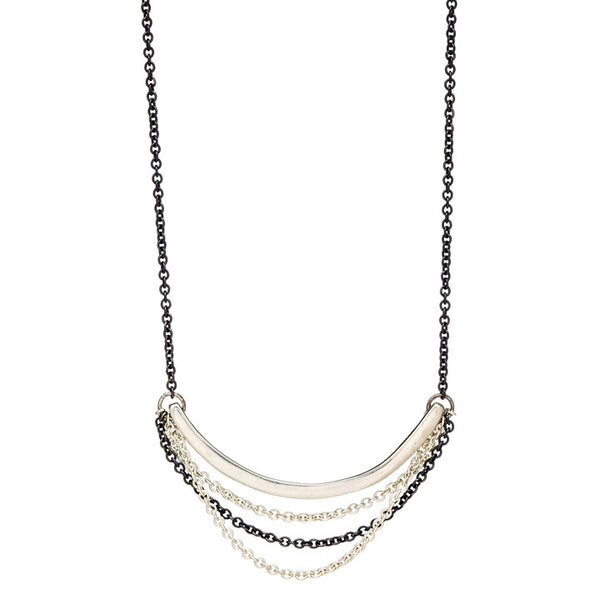 Curved Bar Multi-Chain Necklace