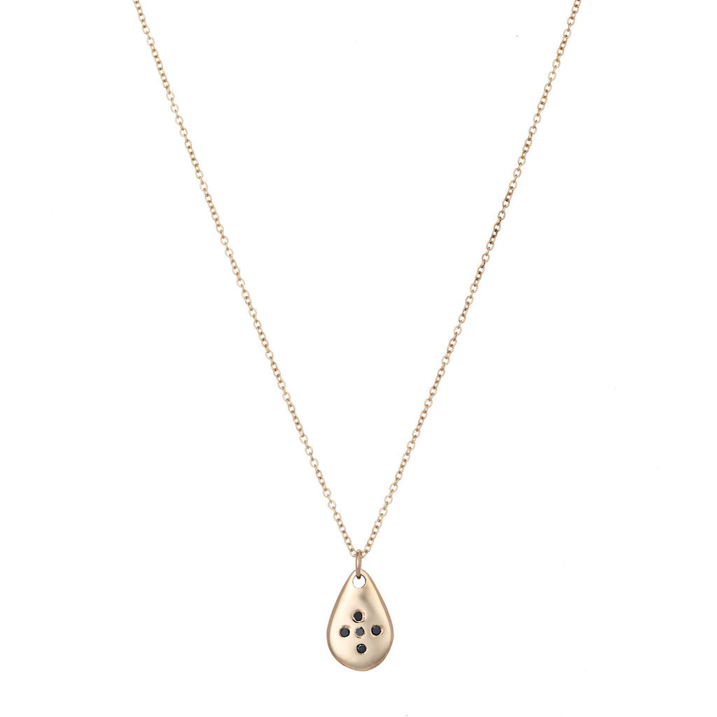 Thin Gold Drop Necklace With Black Diamonds