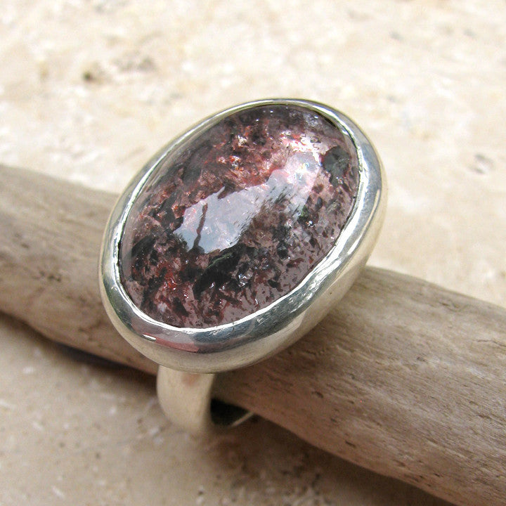 Large Oval Setting with Strawberry Quartz