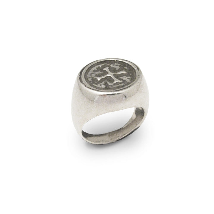 Signet Ring w/ Cross Protection Charm