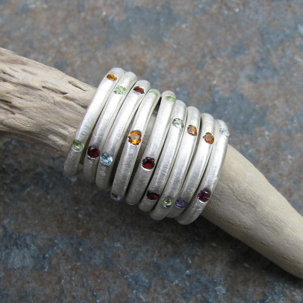 Thinnest Domed Band With Multi Color Stones