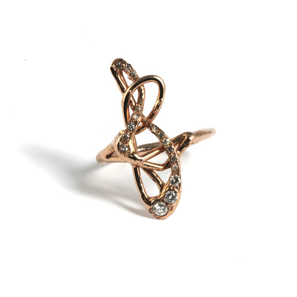 Abstract Diamond Note Ring