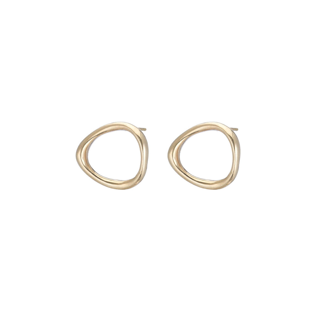 14k Flat Bent Loop Earrings