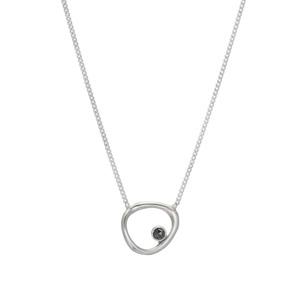 Flat Baby Bent Loop With Diamond Necklace