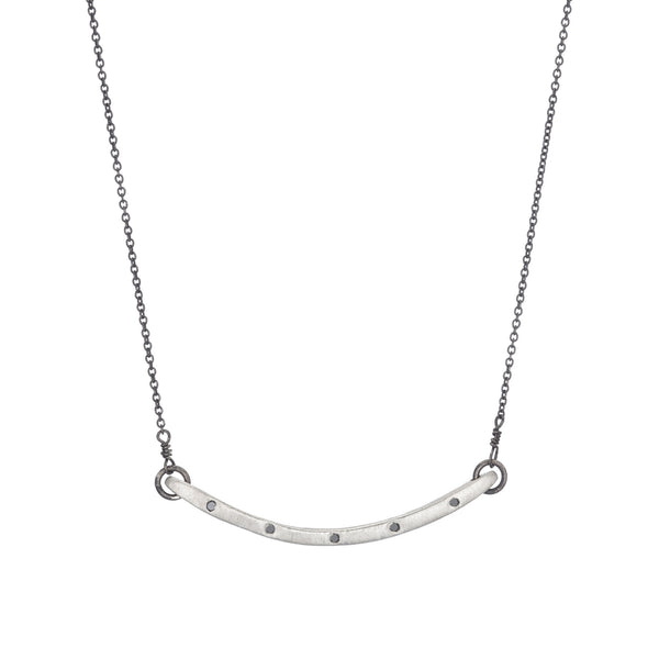 Thinnest Curved Bar Necklace With Diamonds