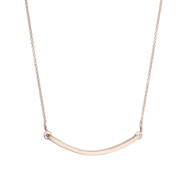 14k Thin Curved Bar Necklace