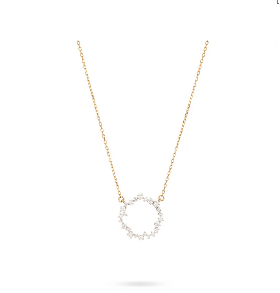 Small Scattered Diamond Circle Necklace
