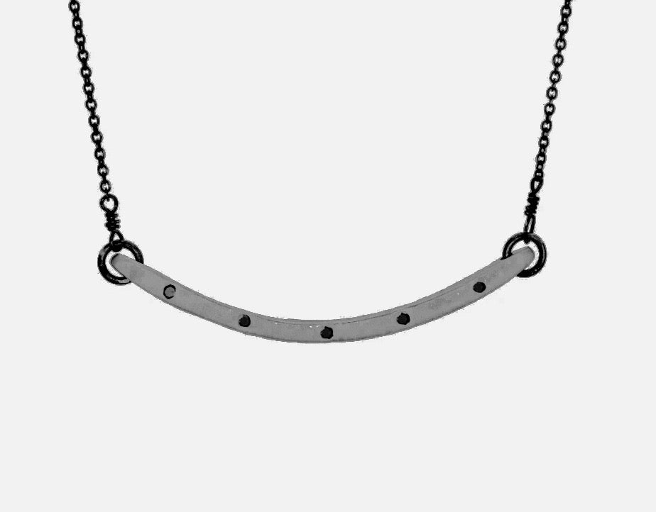 Thinnest Black Rodium Curved Bar Necklace With White Diamonds