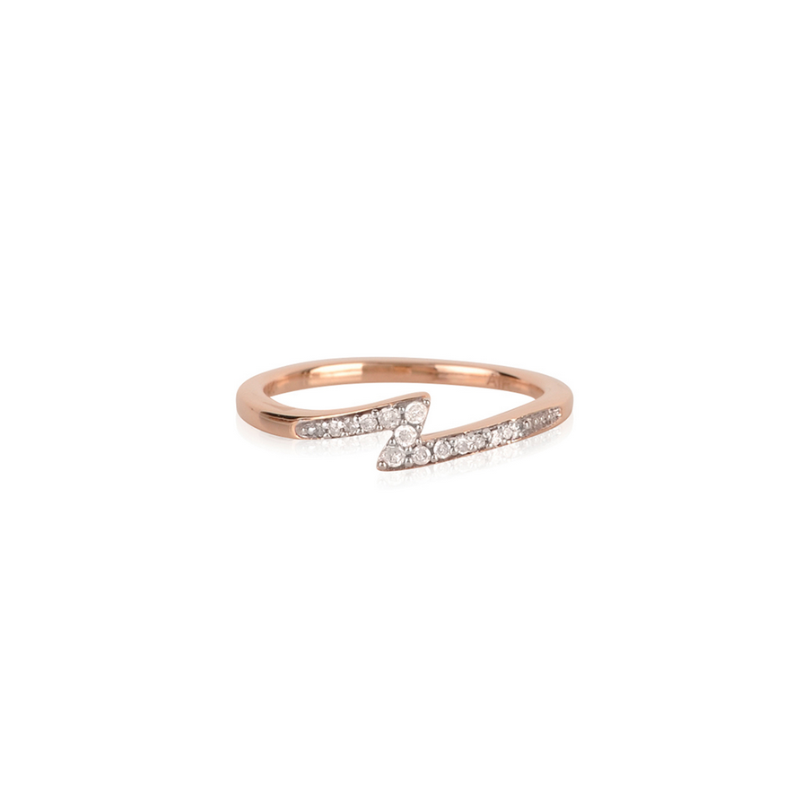 14k Rose gold Lightning Bolt diamond ring
