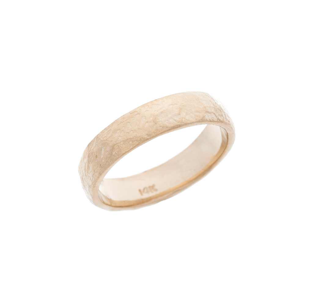 Men's Gold Round Textured Band