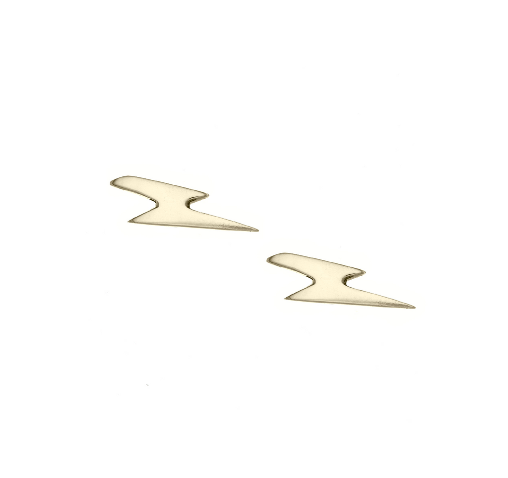 14K Gold Lighting Bolt Studs