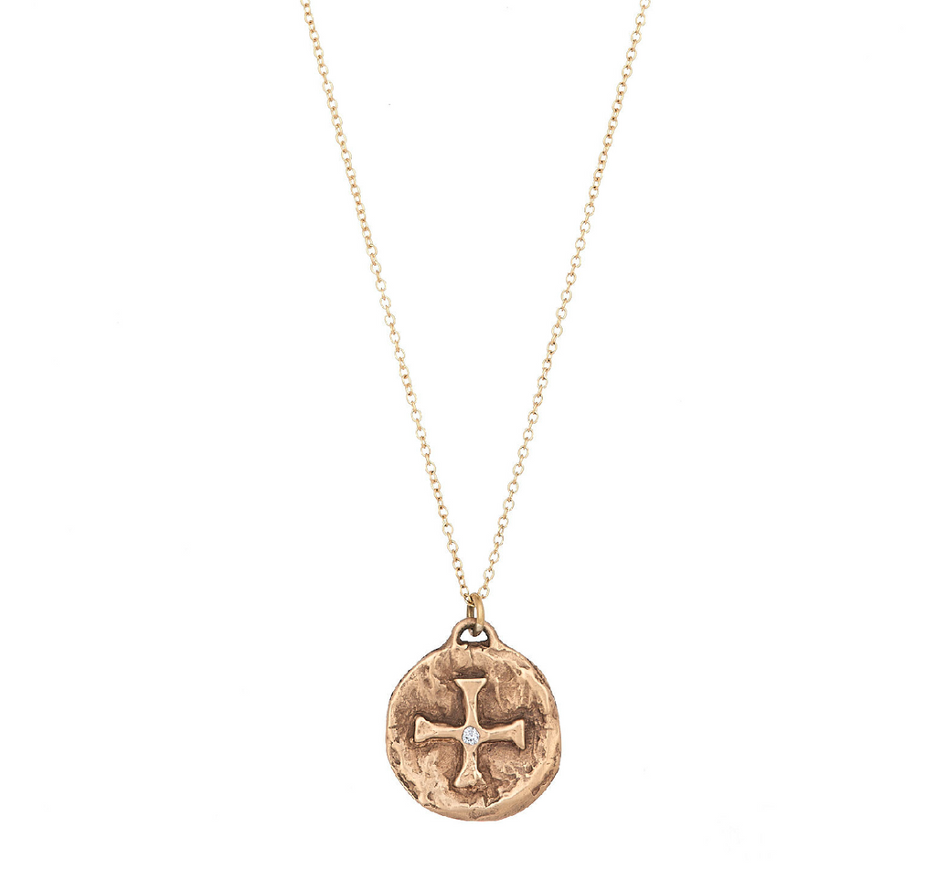 14k Diamond Cross Protection Charm Necklace