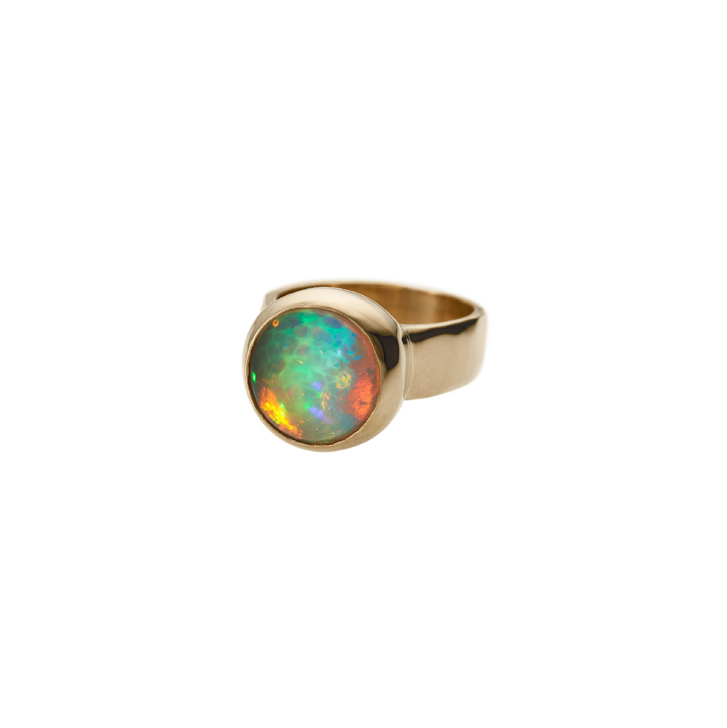 14K Medium Round Fire Opal Setting