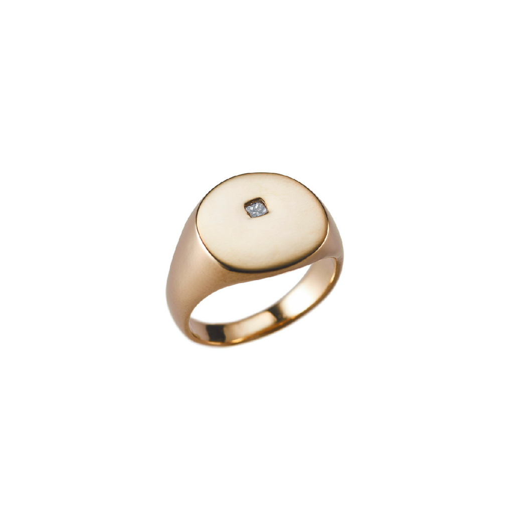 14K Organic Signet With Diamond