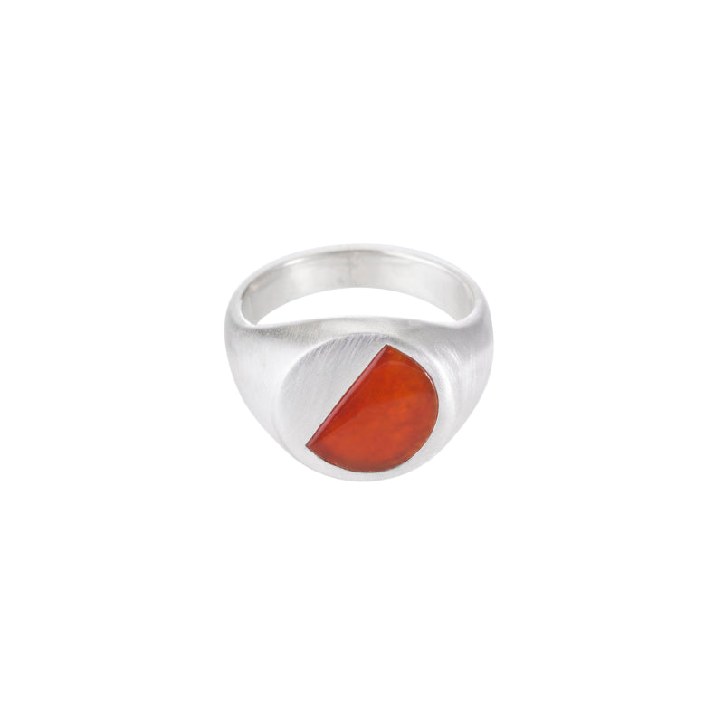 Carnelian Inlay Round Signet Ring