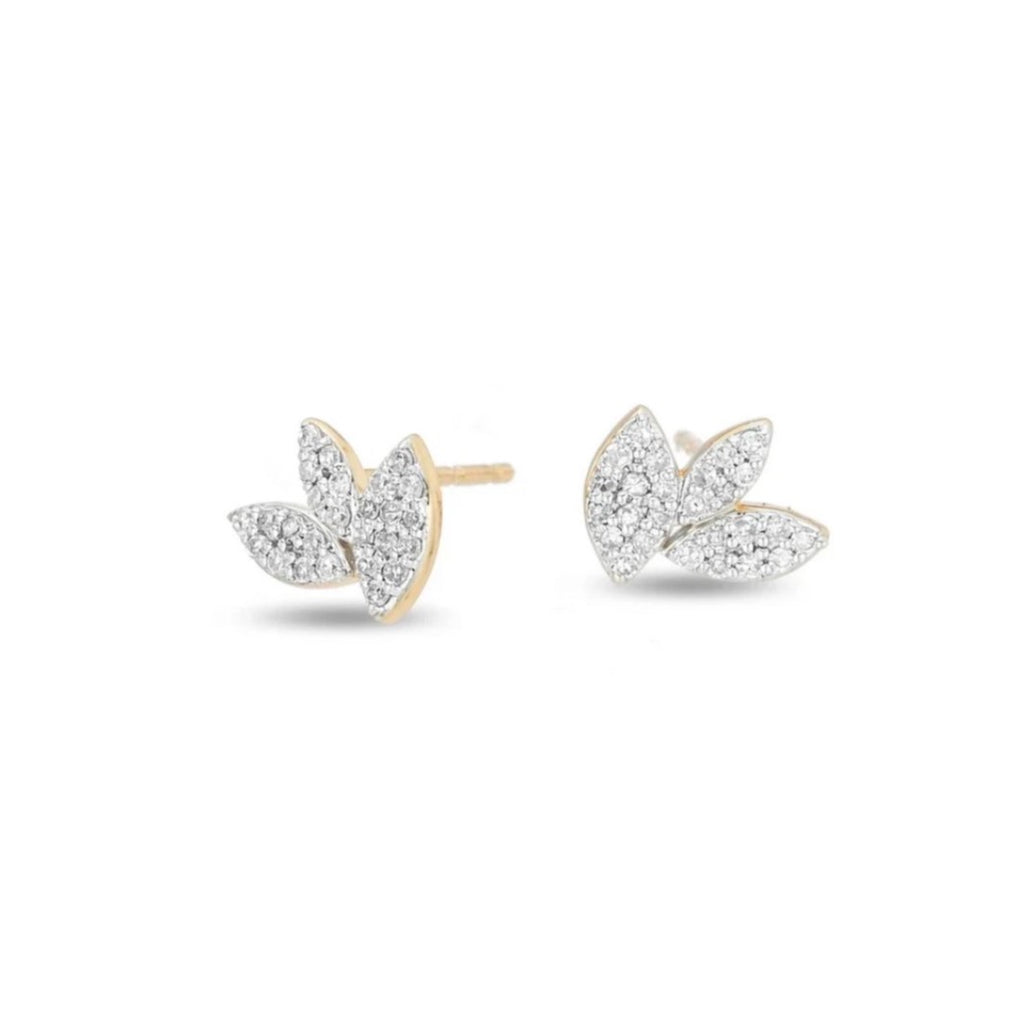 Tiny Pave Marque Cluster Post Earrings