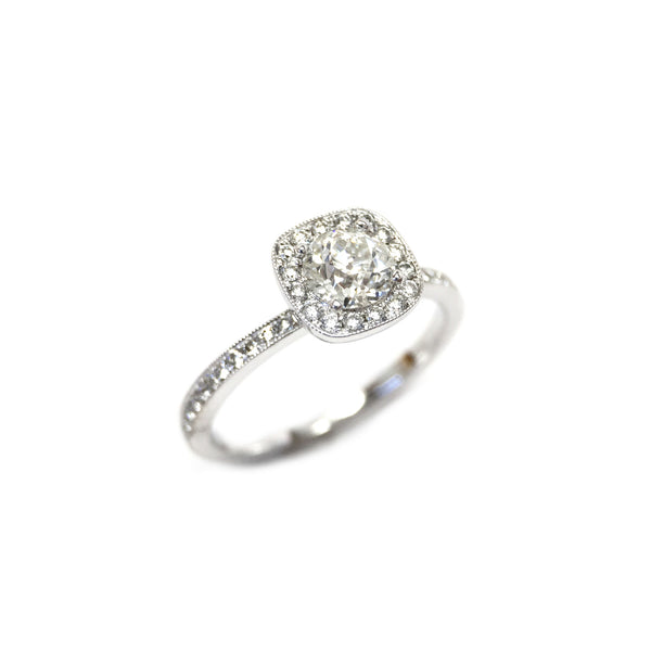 Old European cut diamond Halo ring