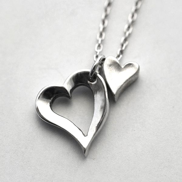Open Heart & Tiny Heart Necklace