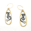 18K Gold and Oxidized Silver Long Earrings
