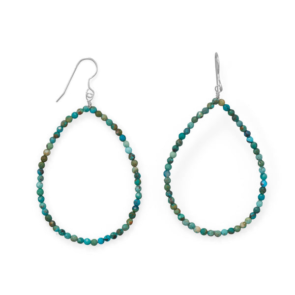Turquoise Beaded Hoops
