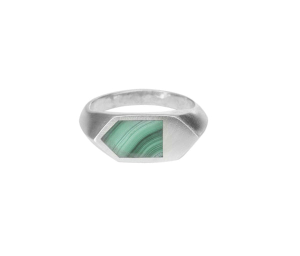 Malachite Inlay Hex Ring